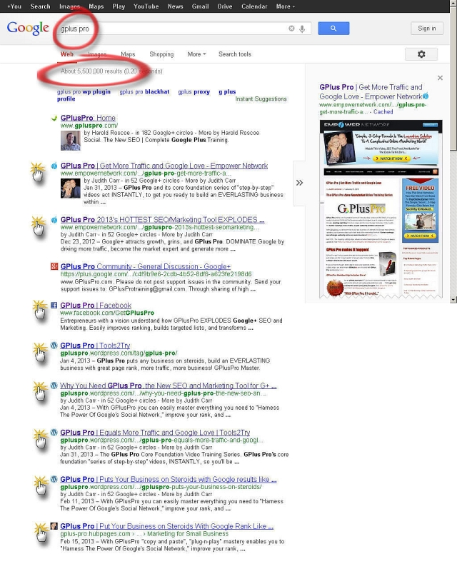 GPlus Pro Got My Sites PAGE1 Rankings Google Search - GPlus Pro- today March 29, 2013